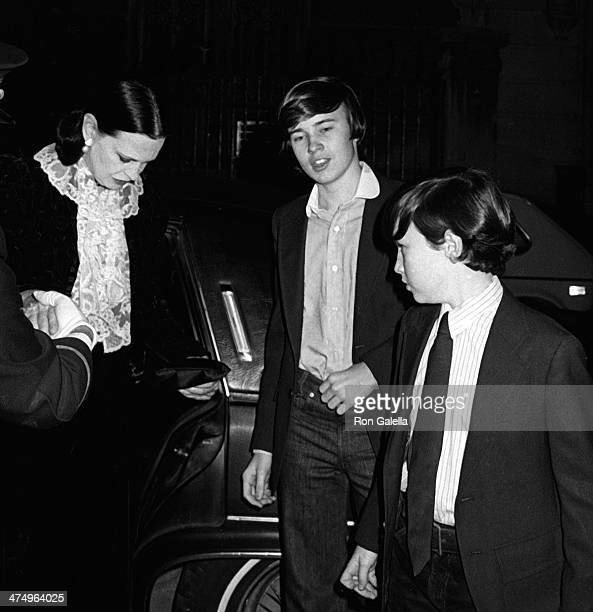 Gloria Vanderbilt, Carter Cooper and Anderson Cooper attend Woody Allen New Year Eve's Party on December 31, 1979 at Harkness House in New York City.