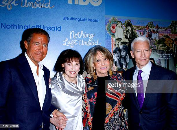 Gloria Vanderbilt Sheila Nevins Anderson Cooper and Liz Garbus attend the Nothing Left Unsaid premiere at Time Warner Center on April 4 2016 in New...