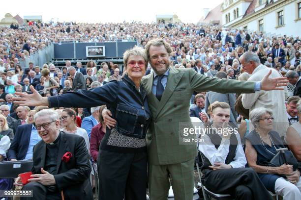 Gloria von Thurn und Taxis and her brother CarlAlban von SchoenburgGlauchau attend the Thurn Taxis Castle Festival 2018 'Evita' Musical on July 15...