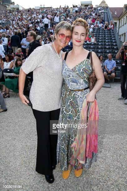 Gloria von Thurn und Taxis and her daughter Maria Theresia von Thurn und Taxis during the Jamie Cullum concert at Thurn Taxis Castle Festival 2018 on...