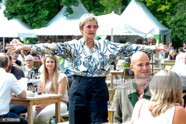 Gloria von Thurn und Taxis and her son Albert von Thurn und Taxis during the Amy McDonald concert at the Thurn Taxis Castle Festival 2017 on July 17...