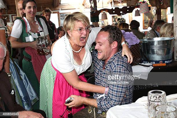 Gloria von Thurn und Taxis and Moritz Flick during the Oktoberfest Opening in Kaeferzelt at Theresienwiese on September 20 2014 in Munich Germany