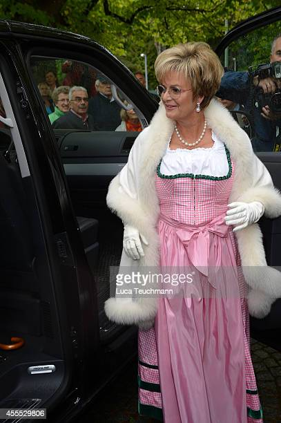 Gloria von Thurn und Taxis arrives for the wedding of Maria Theresia Princess von Thurn und Taxis and Hugo Wilson at St Joseph Church in Tutzing on...