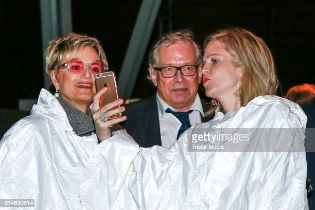 Gloria von Thurn und Taxis hair stylist Gerhard Meir and guest during the Thurn Taxis Castle Festival 2017 'Aida' Opera Premiere on July 14 2017 in...