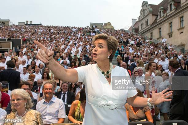 Gloria von Thurn und Taxis poses before the opening of the ThurnundTaxisSchlossfestspiele with Puccini's opera 'La Bohème' at the St Emmeram palace...