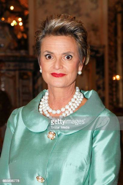 Gloria von Thurn und Taxis poses during a photocall to present the new single 'Maerchenprinzen' of the band Klubbb3 on April 7 2017 in Regensburg...