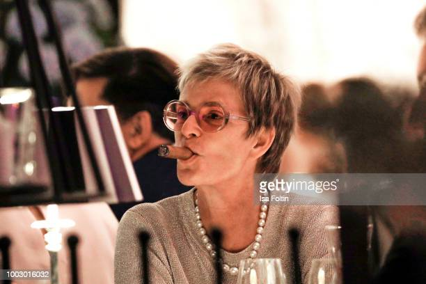 Gloria von Thurn und Taxis smokes a cigar during the Jamie Cullum concert at the Thurn Taxis Castle Festival 2018 on July 20 2018 in Regensburg...
