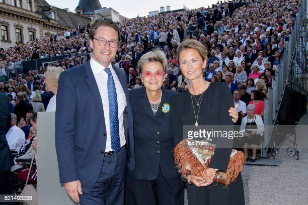 Gloria von Thurn und Taxis with German politician Andreas Scheuer and his wife Sabine Scheuer during the Jose Carreras concert at Thurn Taxis Castle...