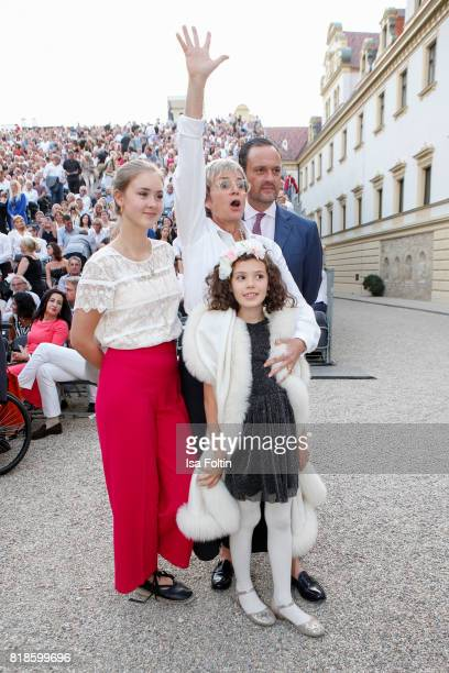 Gloria von Thurn und Taxis with her niece Carlotta Hipp her niece Mimi and her brother Alexander von SchoenburgGlauchau during the Zucchero concert...