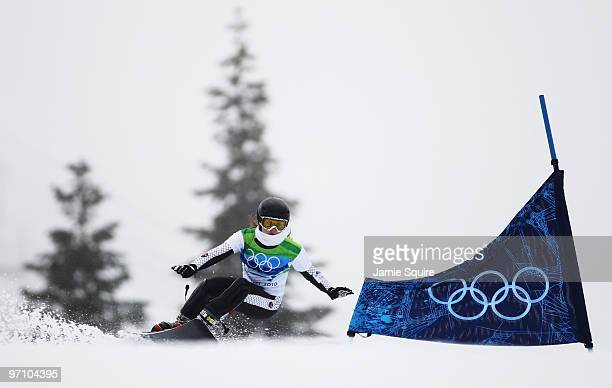 Glorija Kotnik of Slovenia competes during the Snowboard Ladies' Parallel Giant Slalom on day 15 of the Vancouver 2010 Winter Olympics at Cypress...