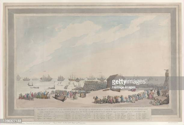 Glorious Defeat of the Dutch Navy, Oct. 10 by Admirals Lord Duncan and Sir Richard Onslow with a View Drawn on the Spot of the Six Dutch Line of...