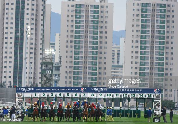Glorious Forever jumps from barrier one before winning in Race 8 Longines Hong Kong Cup during the LONGINES Hong Kong International Races at Sha Tin...