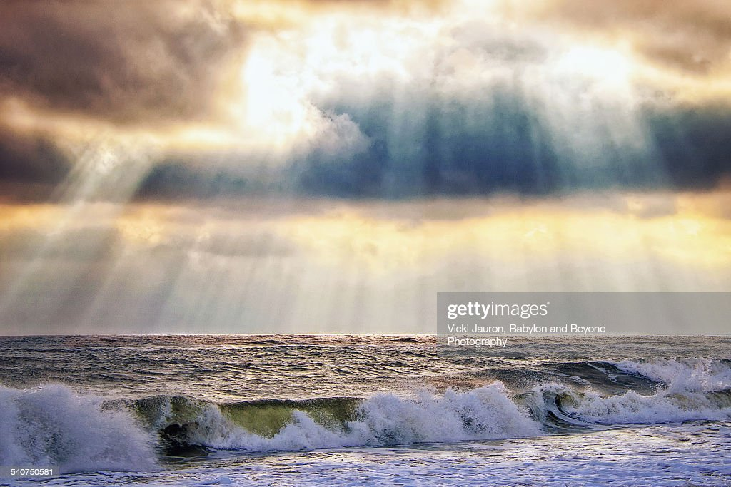 Glorious sky over the ocean at Robert Moses Beach : ストックフォト
