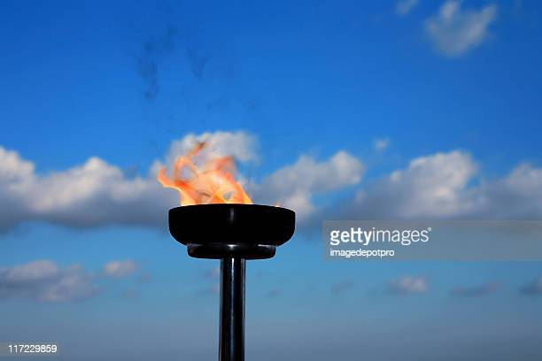 glory burning torch - the olympic games stock pictures, royalty-free photos & images