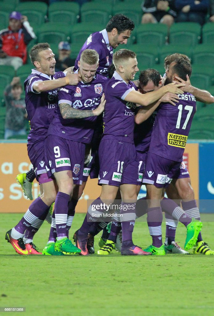Glory celebrate a goal during the round 26 A-League match between the Perth Glory and Brisbane Roar at nib Stadium on April 8, 2017 in Perth, Australia.