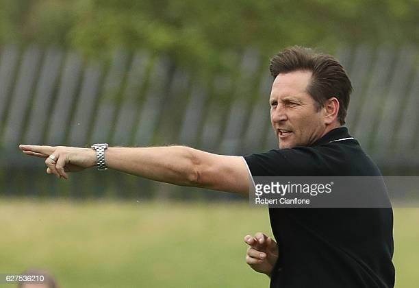Glory coach Bobby Despotovski gestures during the round five WLeague match between Melbourne Victory and Perth Glory at Lakeside Stadium on December...