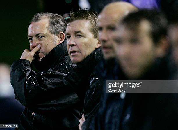 Glory coach David Mitchell directs his players during the round 12 A-league match between the Newcastle Jets and the Perth Glory at EnergyAustralia...