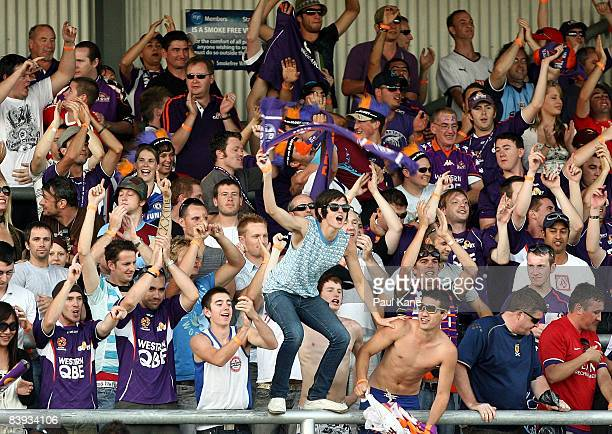Glory fans celebrate victory in the round 14 ALeague match between the Perth Glory and the Melbourne Victory held at Members Equity Stadium December...