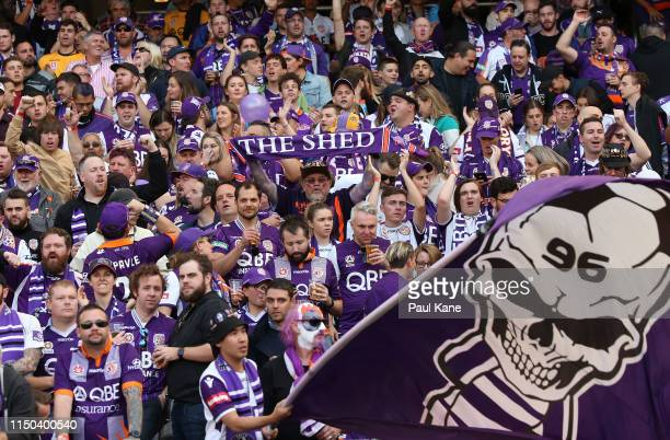 Glory fans show their support during the 2019 ALeague Grand Final match between the Perth Glory and Sydney FC at Optus Stadium on May 19 2019 in...
