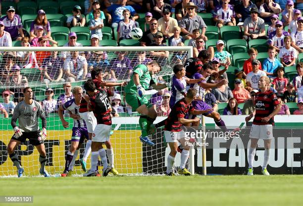 Glory goal keeper Danny Vukovic attempts to score a goal with a header from a corner kick during the round seven ALeague match between Perth Glory...