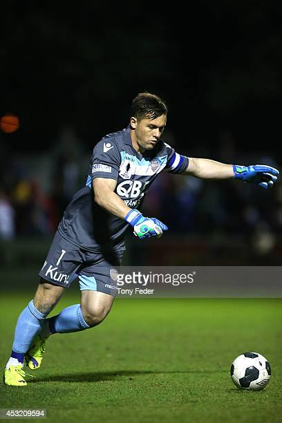 Glory goalkeeper Daniel Vukovic kicks the ball out from goal during the FFA Cup match between the Newcastle Jets and the Perth Glory at Wanderers...