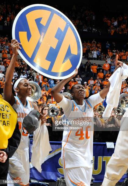 Glory Johnson and Shekinna Stricklen of the Tennessee Volunteers celebrate after defeating the LSU Tigers in the SEC Women's Basketball Tournament...