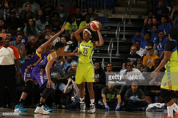 Glory Johnson of the Dallas Wings handles the ball against the Los Angeles Sparks on June 11 2016 at College Park Center in Arlington Texas NOTE TO...