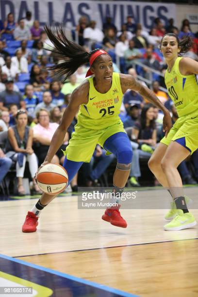 Glory Johnson of the Dallas Wings handles the ball against the Los Angeles Sparks on June 22 2018 at the College Park Center in Arlington Texas NOTE...