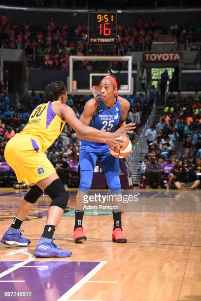 Glory Johnson of the Dallas Wings handles the ball against the Los Angeles Sparks on July 12 2018 at STAPLES Center in Los Angeles California NOTE TO...