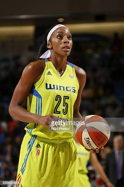 Glory Johnson of the Dallas Wings prepares to shoot a free throw against the Los Angeles Sparks on June 11 2016 at College Park Center in Arlington...