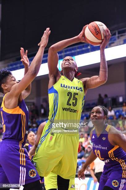 Glory Johnson of the Dallas Wings shoots the ball against the Los Angeles Sparks on June 9 2017 at the College Park Center in Arlington Texas NOTE TO...