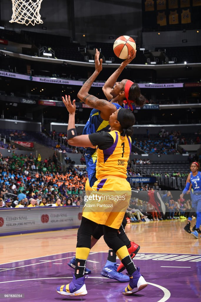 Glory Johnson #25 of the Dallas Wings shoots the ball against the Los Angeles Sparks on July 12, 2018 at STAPLES Center in Los Angeles, California.