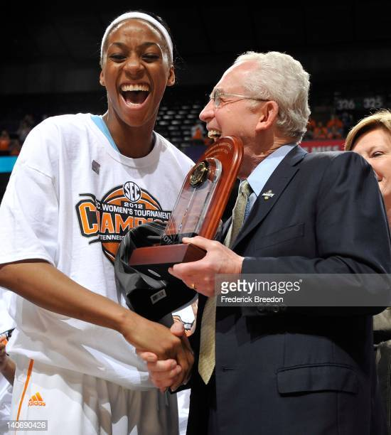 Glory Johnson of the Tennessee Volunteers receives the MVP award after the Tennessee Volunteers defeated the LSU Tigers in the SEC Women's Basketball...