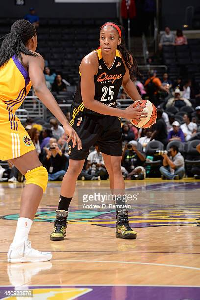 Glory Johnson of the Tulsa Shock looks to pass the ball up court against the Los Angeles Sparks at STAPLES Center on June 19 2014 in Los Angeles...