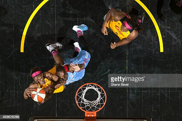 Glory Johnson of the Tulsa Shock shoots the ball against the Tulsa Shock during the WNBA game on July 31 2014 at the BOK Center in Tulsa Oklahoma...