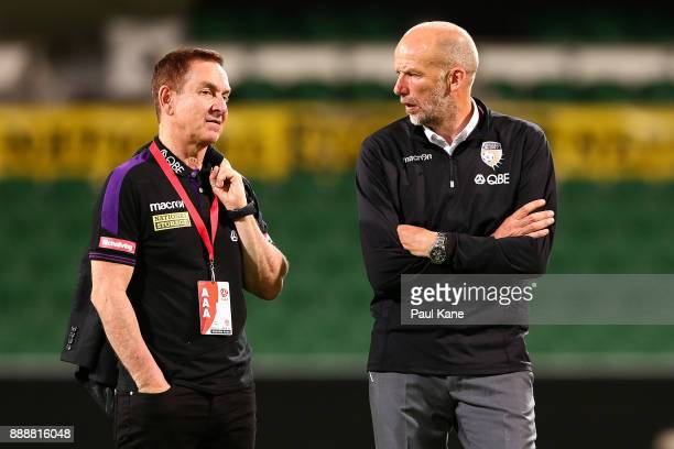 Glory owner Tony Sage and head coach Kenny Lowe talk on the pitch following the defeat to the Jets during the round 10 ALeague match between the...
