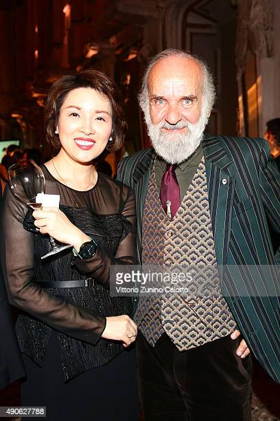 Glory Zhang and Barnaba Fornasetti attend Vogue China 10th Anniversary at Palazzo Reale on September 28 2015 in Milan Italy