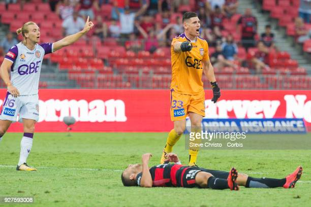 Glory's Liam Reddy shows emotion after his tackle on Jaushua Sotirio of the Wanderers during the round 23 ALeague match between the Western Sydney...