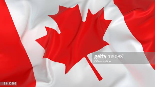 glossy canadian flag in white and red - canadian flag stock pictures, royalty-free photos & images
