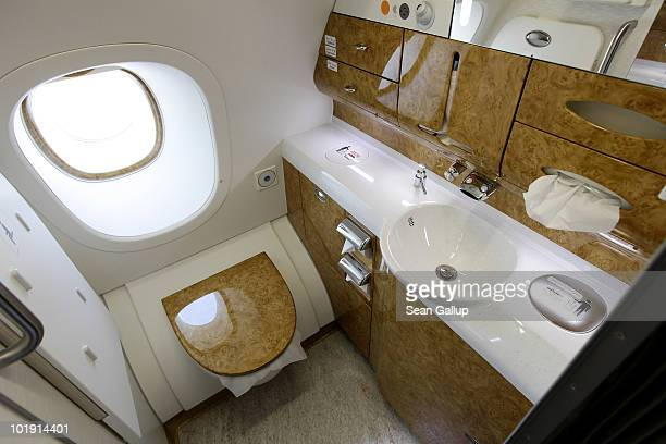 Glossy wood decorates a bathroom in the business class section of an Emirates Airbus A380 at the ILA Berlin Air Show on June 9 2010 in Berlin Germany...