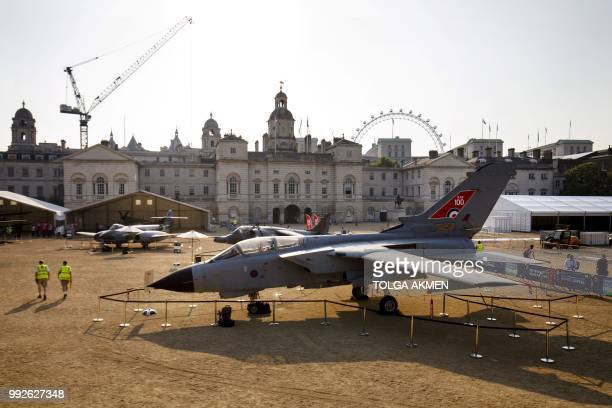 A Gloster Meteor F4 a Harrier GR3 and a Tornado GR4 aircraft are displayed during the RAF100 Aircraft Tour at Horse Guards Parade Whitehall in London...