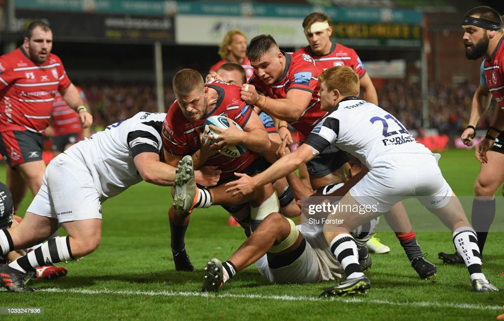 Gloucester captain Ed Slater goes over for the fourth Gloucester try during the Gallagher Premiership Rugby match between Gloucester Rugby and Bristol Bears at Kingsholm Stadium on September 14, 2018 in Gloucester, United Kingdom.