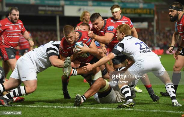 Gloucester captain Ed Slater goes over for the fourth Gloucester try during the Gallagher Premiership Rugby match between Gloucester Rugby and...