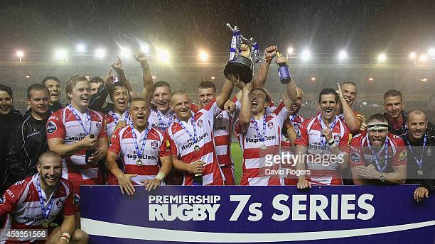 Gloucester celebrate after their victory in the final over Newport Gwent Dragons during the Premiership Rugby 7's Series Final matches at Twickenham...