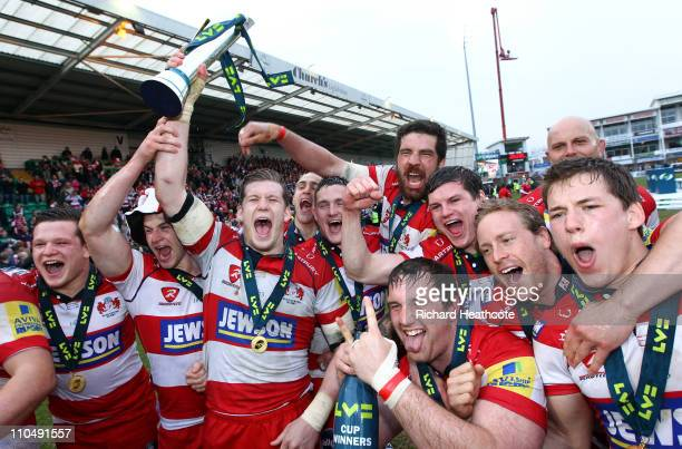 Gloucester celebrate victory with the trophy during the LV= Anglo Welsh Cup Final between Gloucester and Newcastle Falcons at Franklin's Gardens on...