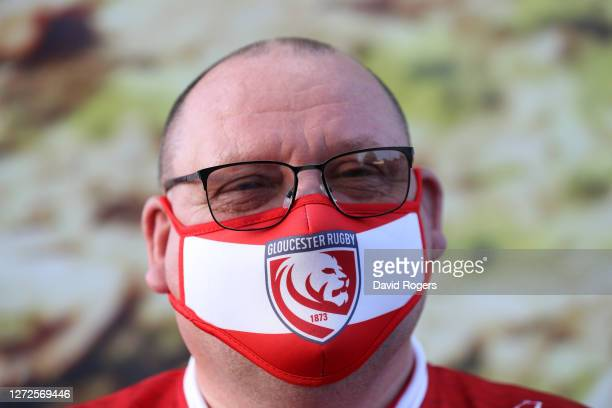 Gloucester fan one of only a thousand who were allowed in looks on prior to the Gallagher Premiership Rugby match between Gloucester Rugby and...