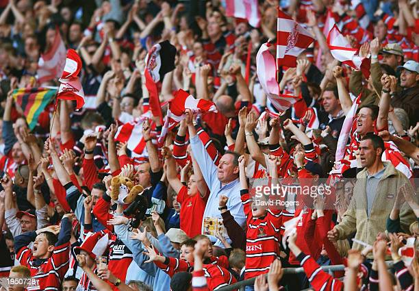 Gloucester fans celebrate during the Powergen Cup Final between Gloucester and Northampton Saints held on April 5, 2003 at Twickenham, in London....