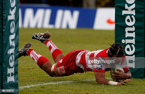 Gloucester forward Akapusi Qera dives over to score the first Gloucester try during the Heineken Cup Pool 2, Round 6 match between Newport Gwent...