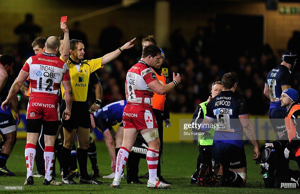 Gloucester hooker Darren Dawidiuk (c) is red carded by referee Tim Wigglesworth during the Aviva Premiership match between Bath and Gloucester at Recreation Ground on March 1, 2013 in Bath, England.