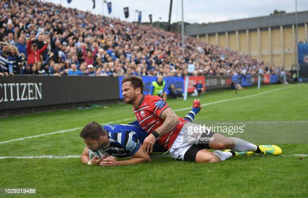 Gloucester player Danny Cipriani cant stop Bath player Elliott Stooke from scoring a try in the corner during the Gallagher Premiership Rugby match...